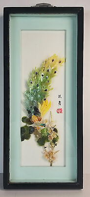 Vintage Framed Asian Mother of Pearl Carved Shell Art Peacock Shadowbox
