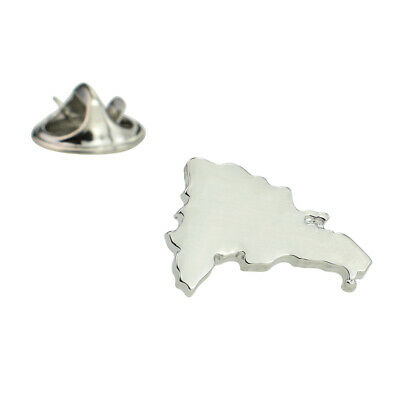 Outline Map of Dominican Republic Rhodium Plated Lapel Tie Pin X2AJTP700