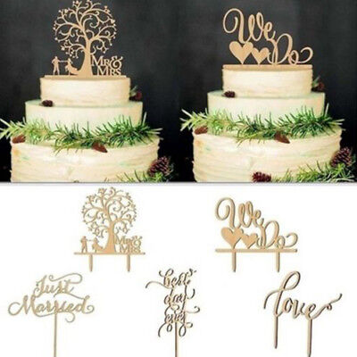Wooden Mr &Mrs Happy birthday Wedding Love Cake Topper Party Favors Decoration