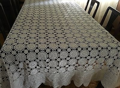 HAND CROCHET Beige, Rectangular Tablecloth -180x325cm - Beaut Cond