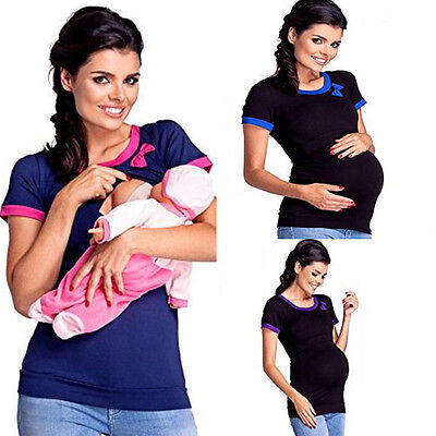 UK Maternity Clothes Breastfeeding Tops Nursing Maternity Top Women T-shirt
