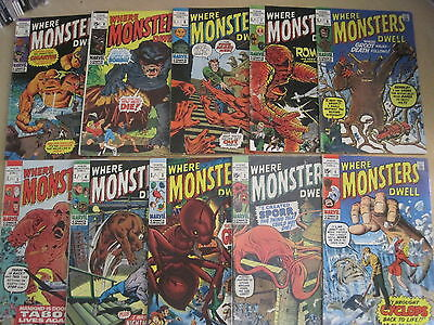 WHERE MONSTERS DWELL issues 1-20. Includes # 6, 1st GROOT re. 1970 MARVEL SERIES