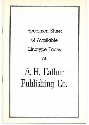 1970s Linotype Type Face specimen book A H Cather Publishing Birmingham Alabama