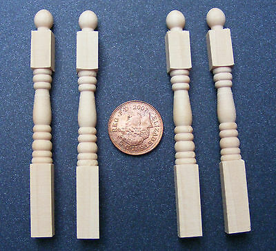 1:12 Scale Natural Finish Wooden 4 x Dolls House Miniature Newel Posts 181