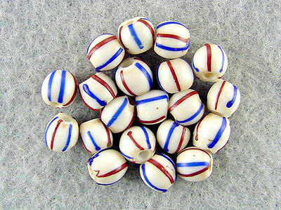 Trade-Beads-Venetian-Antique-White-Cobalt-Blue-Dark-Red-Striped-Glass-Beads