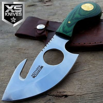 "7"" SKINNER Knife GREEN WOOD Handle GUT HOOK Fixed Blade Hunting Knife W/ Sheath"