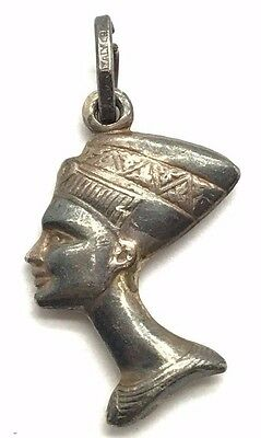 Vintage Oxidized Sterling Silver 925 Queen Nefertiti Egyptian Head Charm Pendant