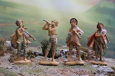 "4"" Fontanini Nativity Musician LOT JOSHUA JOSIAH + + Depose Italy w/ 4 Spiders"