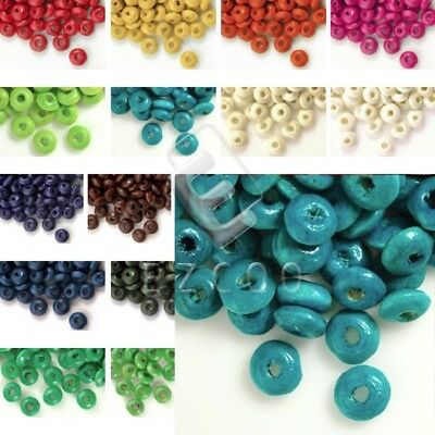 30g(400pcs Approx) Loose Wooden Spacer Wood Beads Rondelle 3x6mm YBWB4