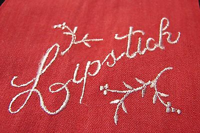 Lot 2 Early Vintage Embroidered Red Lipstick Hankies
