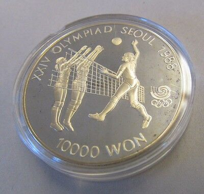 1988 SEOUL OLYMPICS VOLLEY 10000 WON SILVER PROOF COIN  in Capsule
