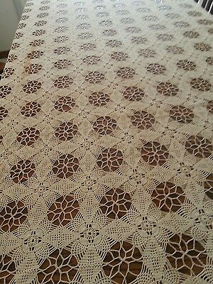 "vintage hand crochet tablecloth, 57"" by 97"","