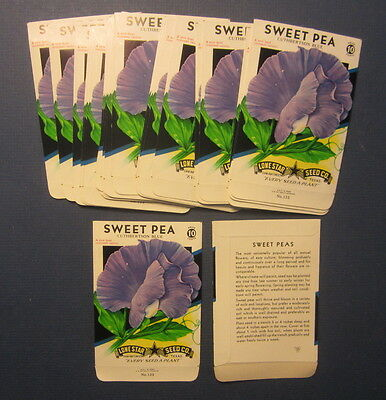 Wholesale Lot of 25 Old Vintage - SWEET PEA - Blue - Flower SEED PACKETS - EMPTY