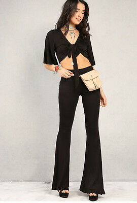 Solid Black Soft Knit Flare Leg Bell Bottom Stretch Pants Yoga Casual Pull On