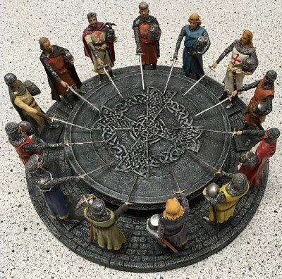 """11.5"""" King Arthur & Knights of Round Table Statue Figurine Sculpture Medieval @"""