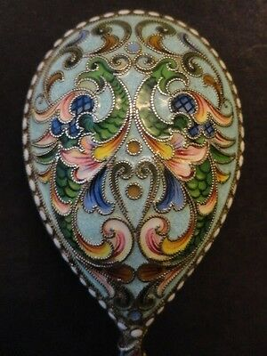 Rare antique Russian silver 84 cloisonne shaded enamel spoon with eagle 35 grams