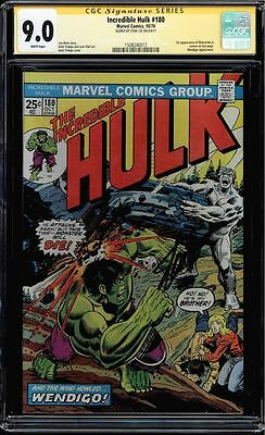Incredible Hulk #180 Cgc 9.0 W Ss Stan Lee 1St App Wolverine Cgc #1508240012