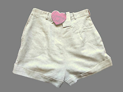 Remade / Reworked Vintage Beige Linen Shorts Retro Boho New With Tags 12
