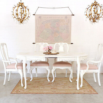 Shabby Cottage Chic Lovely Dining Table With 1 Leaf French Vintage Style Roses