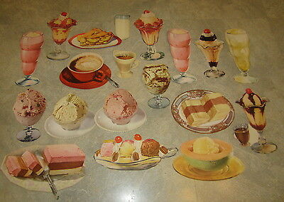 Lot of 18 Old 1950's Ice Cream / Sundae / Float / Soda Fountain Paper Diecuts