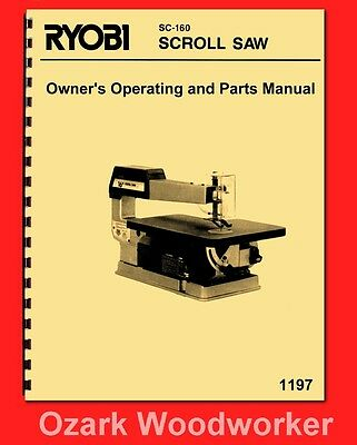 Ryobi 16″ Scroll Saw Jig Model SC-160 Owner's Instruction & Parts Manual 1197
