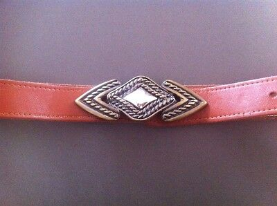 Ladies Brown SWITCHERS By Tantis Belt Tan Leather Size XL  Brass Buckle
