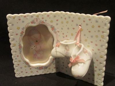Precious Moments 1991 Picture Frame with Booties with Pink Ribbons