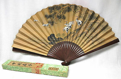 "Vintage Japanese Paper Fan Large with Cranes Birds Scene Folding 20"" Height"