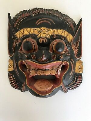 Art-Mask-Tribal-Indonesia-Tongue-Gold-Wood-Barong-Hand-Carve-Painted-Decor-Hang