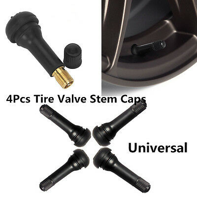 4x Car Motorcycle Alloy Steel Wheel Snap In Rubber Tubeless Tyre Valve+Dust Caps