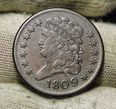 1809 Classic Head Half Cent - Nice Coin, Free Shipping (6401)