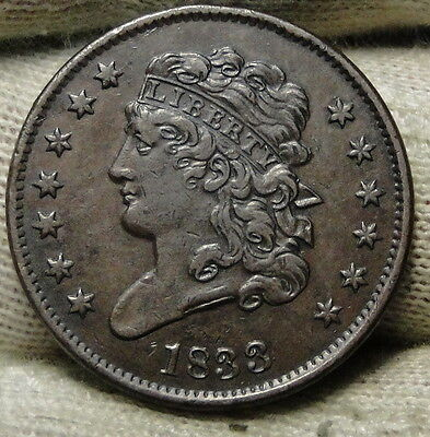 1833 Classic Head Half Cent - Nice Coin - Rare, Only 103,000 Minted (6434)
