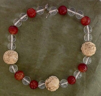 Vintage Japanese Ojime bead necklace With Carnelian & Rock Crystal Beads