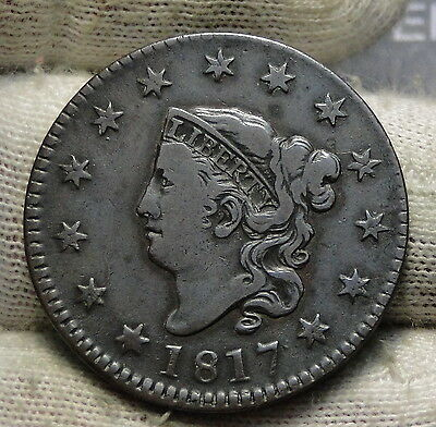 1817 Penny Coronet Large Cent - Nice Coin, Free Shipping  (5785)