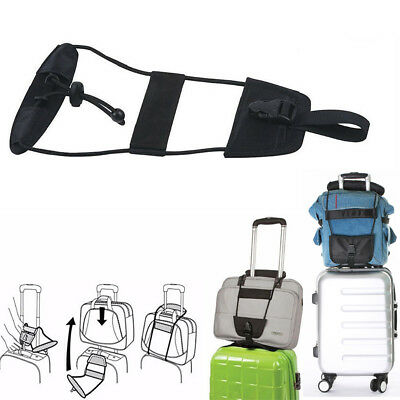 Add A Bag Strap Travel Luggage Suitcase Adjustable Belt Carry On Bungee & Tag