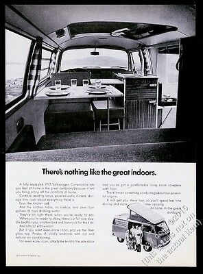 1973 VW Camper Campmobile bus photo The Great Indoors Volkswagen vintage ad
