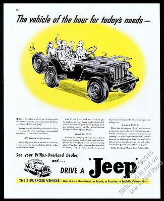 1946 Willys Jeep CJ2A Universal happy family art vintage print ad