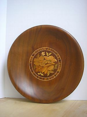 """Vintage William Bader Handmade Floral Marquetry Wood Bowl Asheville NC 11.5"""""""