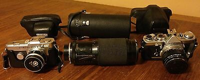 Olympus Camera Bundle Lot Collection Pen F OM-1 Soligor Zoom Lens Cases