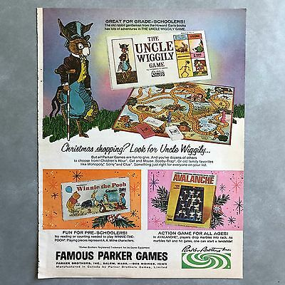 1968 Uncle Wiggily Winnie The Pooh Avalanche Parker Bros Games Vintage Print Ad
