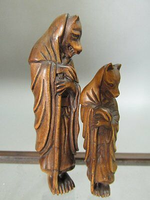 2 Japanese Boxwood Carved Fox Priest Shape Netsuke / Statue