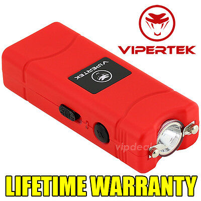 VIPERTEK VTS-881 110 BV Rechargeable Micro Mini Stun Gun LED Flashlight - Red
