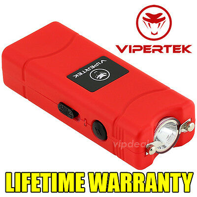 VIPERTEK VTS-881 500 MV Rechargeable Micro Mini Stun Gun LED Flashlight - Red