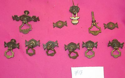 8 Antique Victorian Brass Trinket Drawer Pulls Restoration Salvage  #13