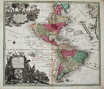 c1730 Amerika Map of America Latin California Island USA Brazil Colored Copper