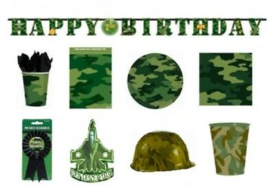 CAMOUFLAGE Birthday Party Range - Tableware Decorations Supplies (Military/Army)