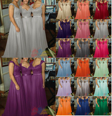Lace Chiffon Formal Evening Bridesmaid Dresses Party Ball Prom Gown Dress UK8-26