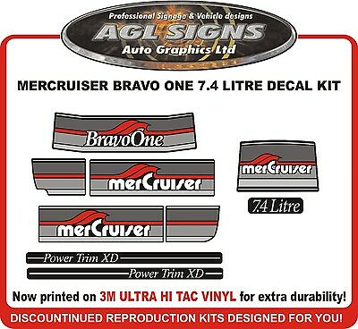 1986 - 1998 Mercury Bravo One Outdrive Decal Kit   Mercruiser 7.4 Litre