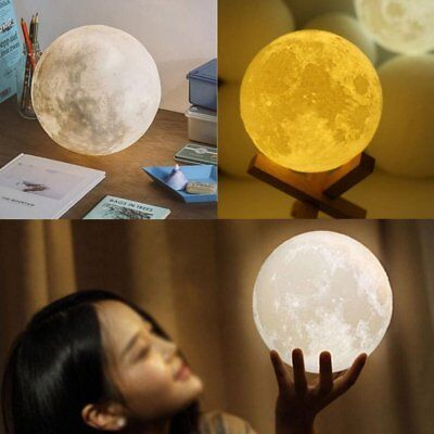 3D Printing Luna Night Light LED Moon Lamp Touch Control Lighting Kid Gift HM