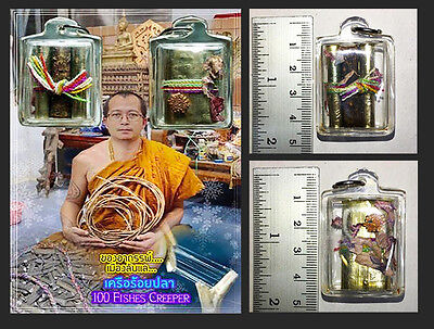 Thai Amulet Holy 100 Fishes Creeper wealth & charming mystical By Phra Arjarn O